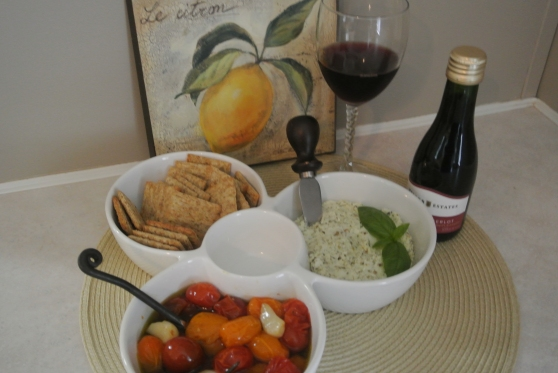 roasted Grape tomatoes with herbed goat cheese