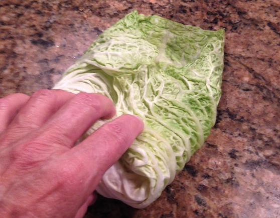 folding the cabbage leaves
