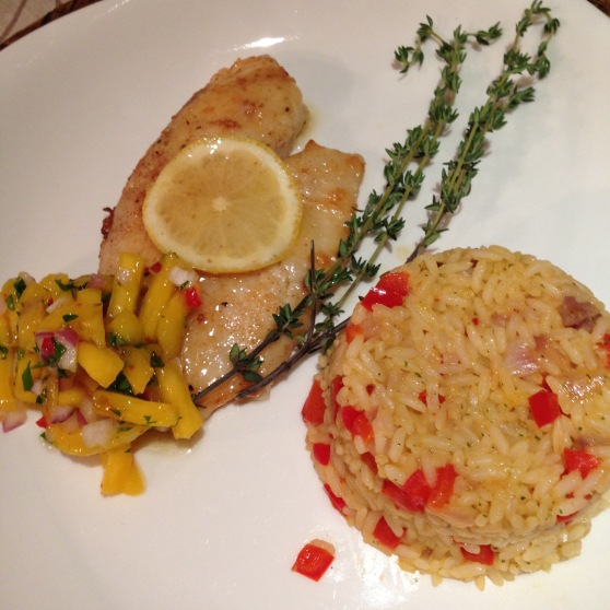 talapia with spicy mango salsa